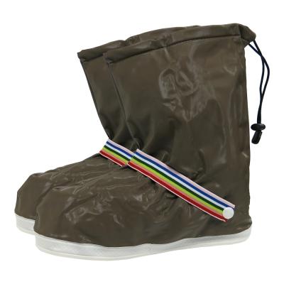 防水 雨鞋套 -長筒 土褐色 縮口 綁帶款-急速配
