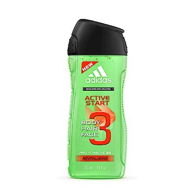 adidas愛迪達 男用三效能量潔顏洗髮沐浴露250ml