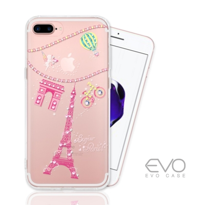 EVO CASE  iphone 7 Plus 奧地利水晶彩繪防摔手機鑽殼-巴黎...