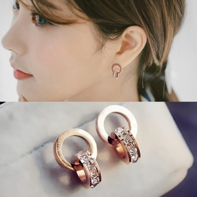 梨花HaNA閃亮水鑽玫瑰金鈦鋼羅馬數字耳釘百搭奢華氣質耳飾