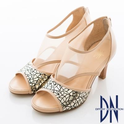 DN-沁涼夏季-性感簍空羊皮高跟鞋-裸