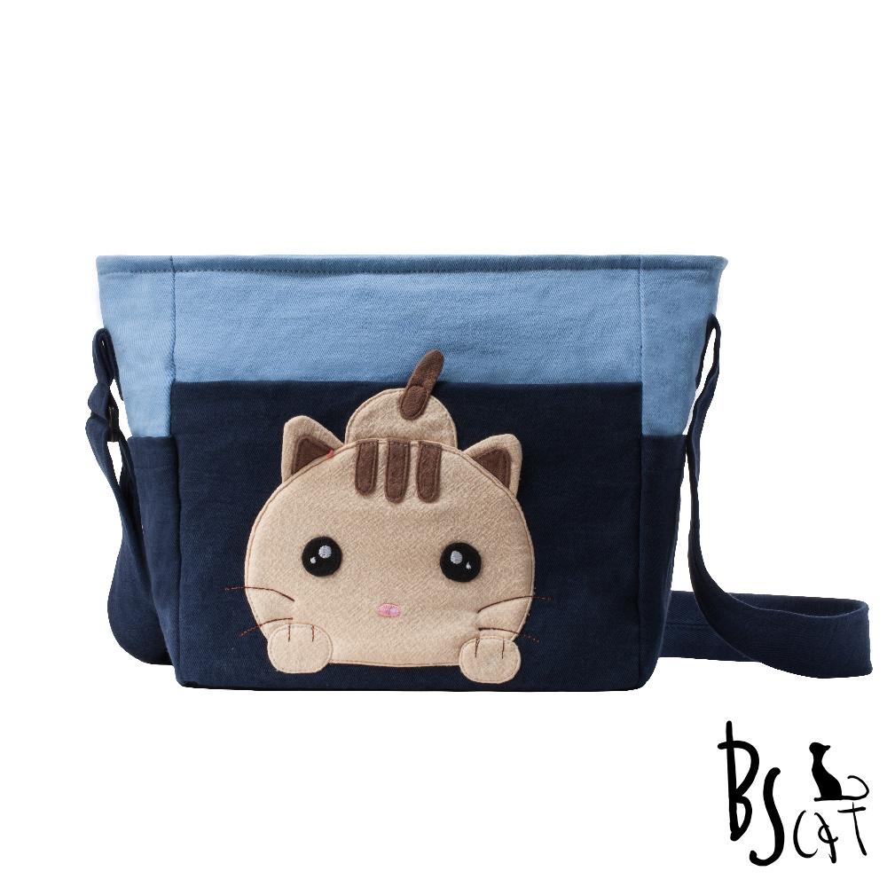 ABS貝斯貓 可愛貓咪拼布 肩背包 斜揹包 (藍) 88-206