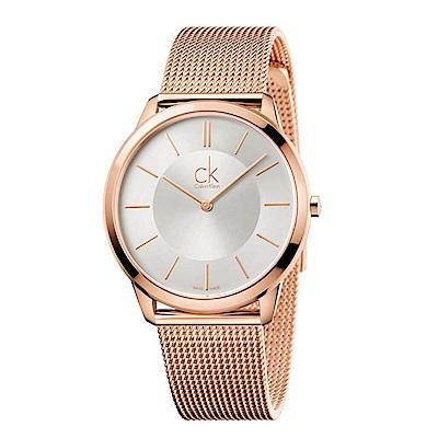 CK CALVIN KLEIN Minimal 系列時尚鍍PVD玫瑰金米蘭帶手錶-40mm