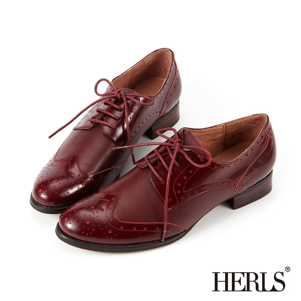 HERLS 全真皮 女紳品味雕花綁帶低跟牛津鞋-酒紅色