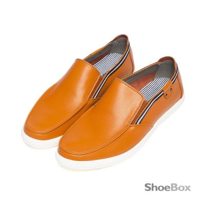 鞋櫃ShoeBox-摩登時代雙色飾帶休閒男鞋-率性亮棕