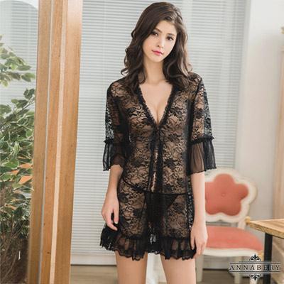 大尺碼Annabery魅惑黑色透視柔紗罩衫丁字褲二件組 黑色 L-2L Annabery