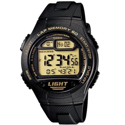CASIO 世紀戰魂電子推動錶(W-734-9A)-黃面/42.4mm