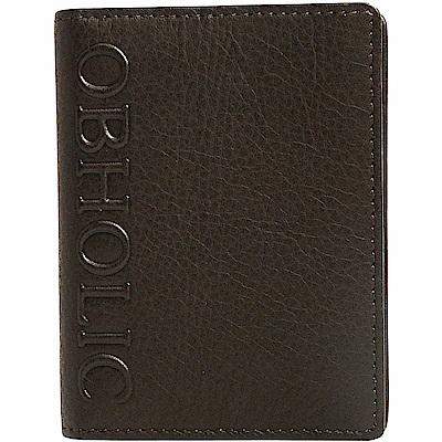 OBHOLIC 咖啡色黑色牛皮信用卡套卡片夾