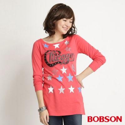 BOBSON 女款星光長袖上衣(桔紅26)
