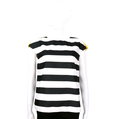 MARELLA 黑白色條紋拼接短袖上衣