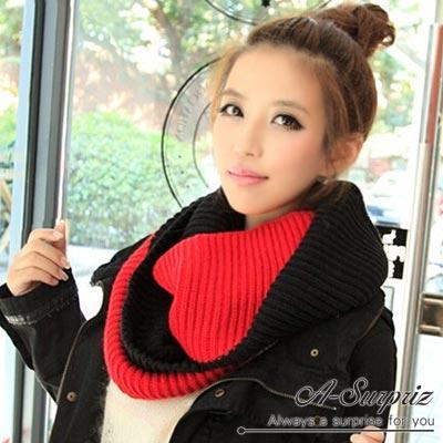 A-Surpriz 時尚大方雙色針織脖圍巾(黑紅)