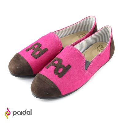 Paidal 經典PD貼字樂福鞋-桃紅
