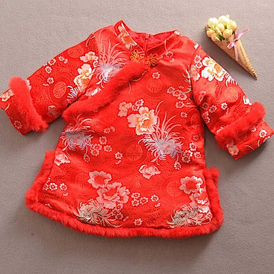 Baby unicorn 紅底花卉刺繡毛邊 長袖洋裝