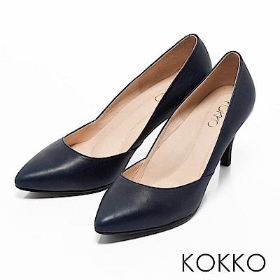 KOKKO - 簡約尖頭真皮側挖低高跟鞋-深寶藍