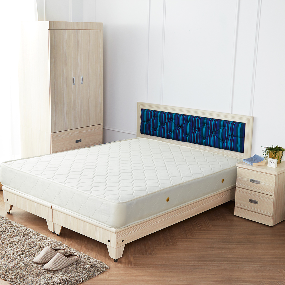 H&D 藍儂田園海洋風5件組(床頭+床底+二抽櫃+衣櫃+床墊)