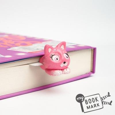 禮物myBookmark手工書籤-探頭的粉紅小貓