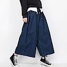 舒腰繫帶高腰時尚牛仔寬褲-(藍色)Andstyle