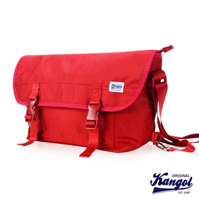 KANGOL 英式時尚輕時尚休閒大空間郵差包防潑水尼龍 斜側包-紅
