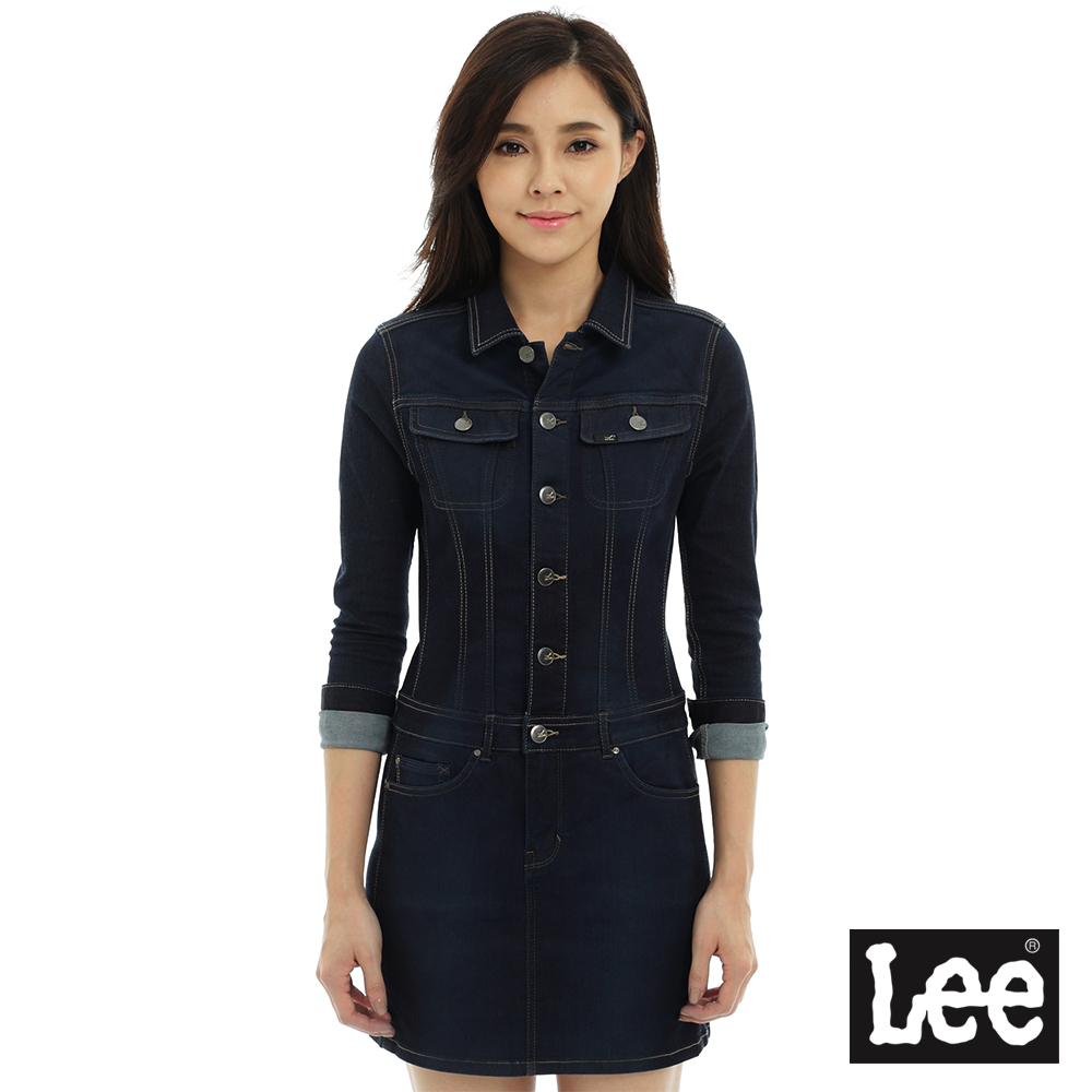 Lee 連身Body Optix洋裝 長袖牛仔 -女款-藍