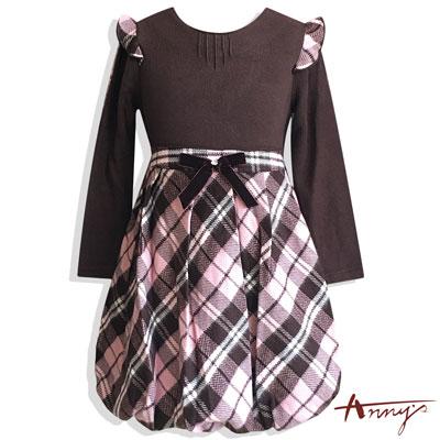 Anny甜美特殊荷葉立體袖拼接格紋洋裝*5610粉