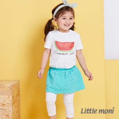 Little moni 俏麗假兩件星星裙合身褲 薄荷綠