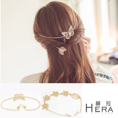 Hera 赫拉 氣質女神金色後掛式髮箍/髮帶-2款