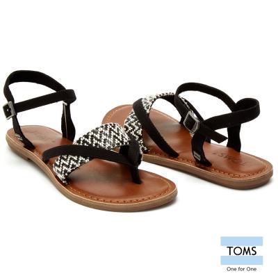 TOMS 繫踝麂皮圖騰平底涼鞋-女款(黑)