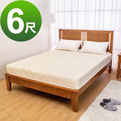 Boden-緹花兩用透氣涼席護背連結式彈簧床墊(偏硬)-6尺加大雙人