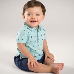 Dave Bella 湖藍星月印花短袖上衣深藍短褲短袖套裝2件組