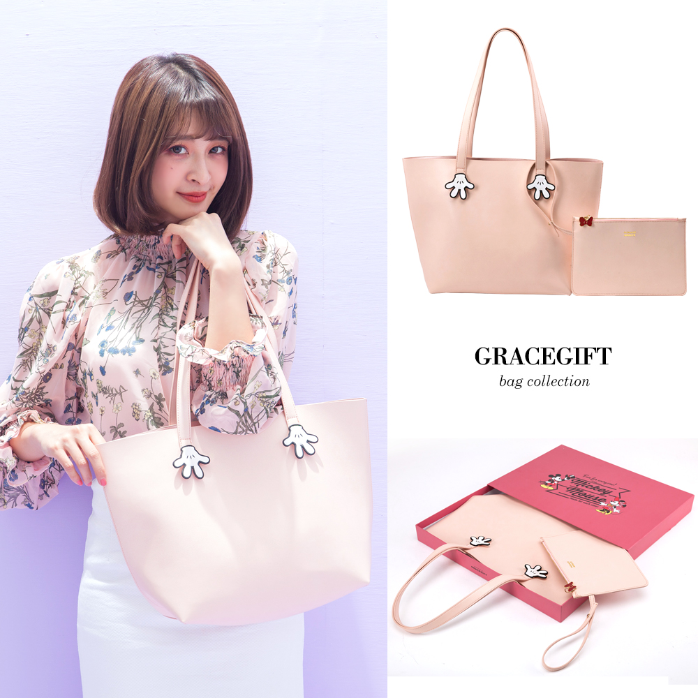 Disney collection by grace gift-米妮手造型簡約子母托特包