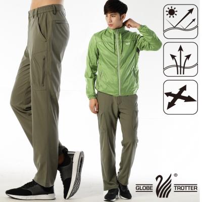 【遊遍天下】男款涼爽超顯瘦彈性多口袋吸濕排汗抗UV長褲P132卡其