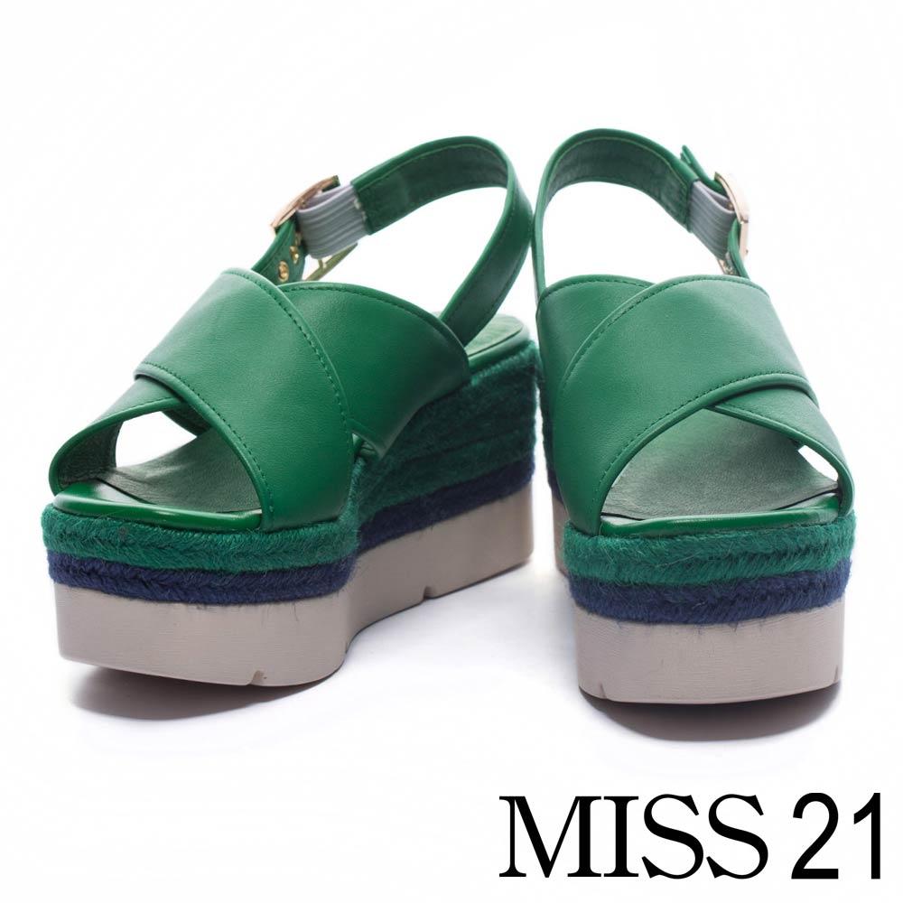 涼鞋 MISS 21 夏日清新純色交叉寬帶麻編厚底涼鞋-綠