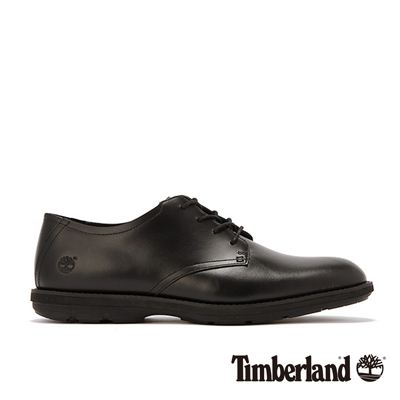 Timberland-男款黑色素面皮革綁帶淺口鞋