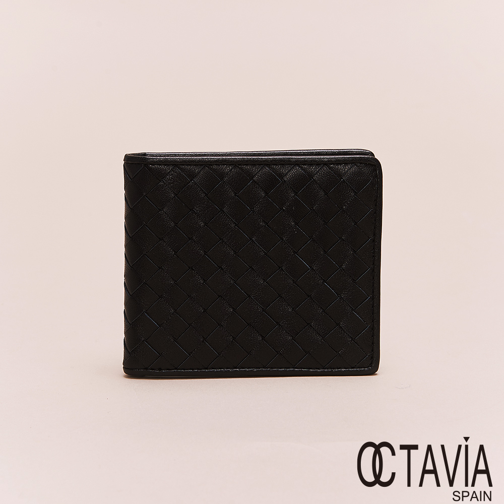 OCTAVIA8真皮 - 男仕系列 頂級羊皮編織二折短夾 - 黑滴黑