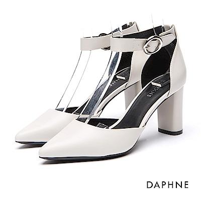 達芙妮DAPHNE 高跟鞋-繞踝釦帶尖頭粗高跟鞋-灰