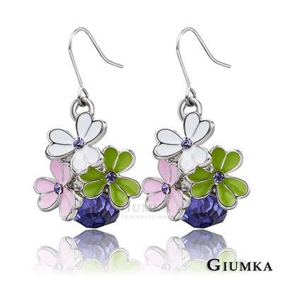 GIUMKA耳環-三色幸運草鋯石耳勾耳環-紫鋯