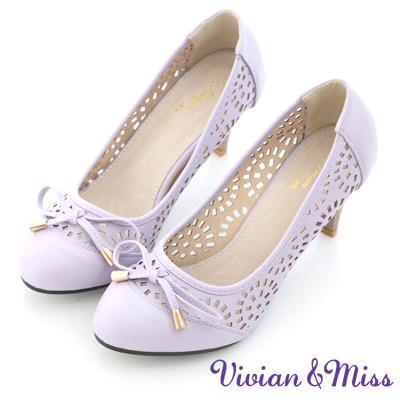 Vivian-miss幾何甜美-絢麗縷空造型平穩高跟鞋-紫