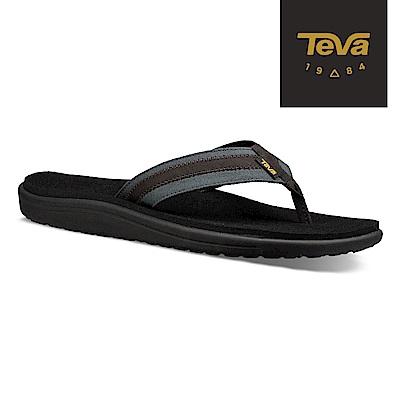 TEVA 美國-男 Voya Canvas Flip 經典織帶夾腳拖鞋 黑灰