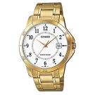 CASIO 經典復古時尚簡約指針紳士日曆腕錶-金X白色(MTP-V004G-7B)40mm
