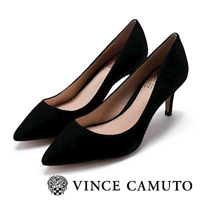 Vince Camuto 都會風尚 原色尖頭曲線高跟鞋-絨黑