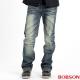 BOBSON 男款立體刷紋中直筒褲(藍52)