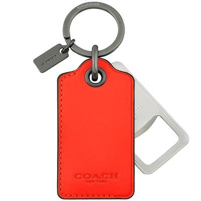 COACH-橘色皮革吊牌鑰匙圈-附開瓶器
