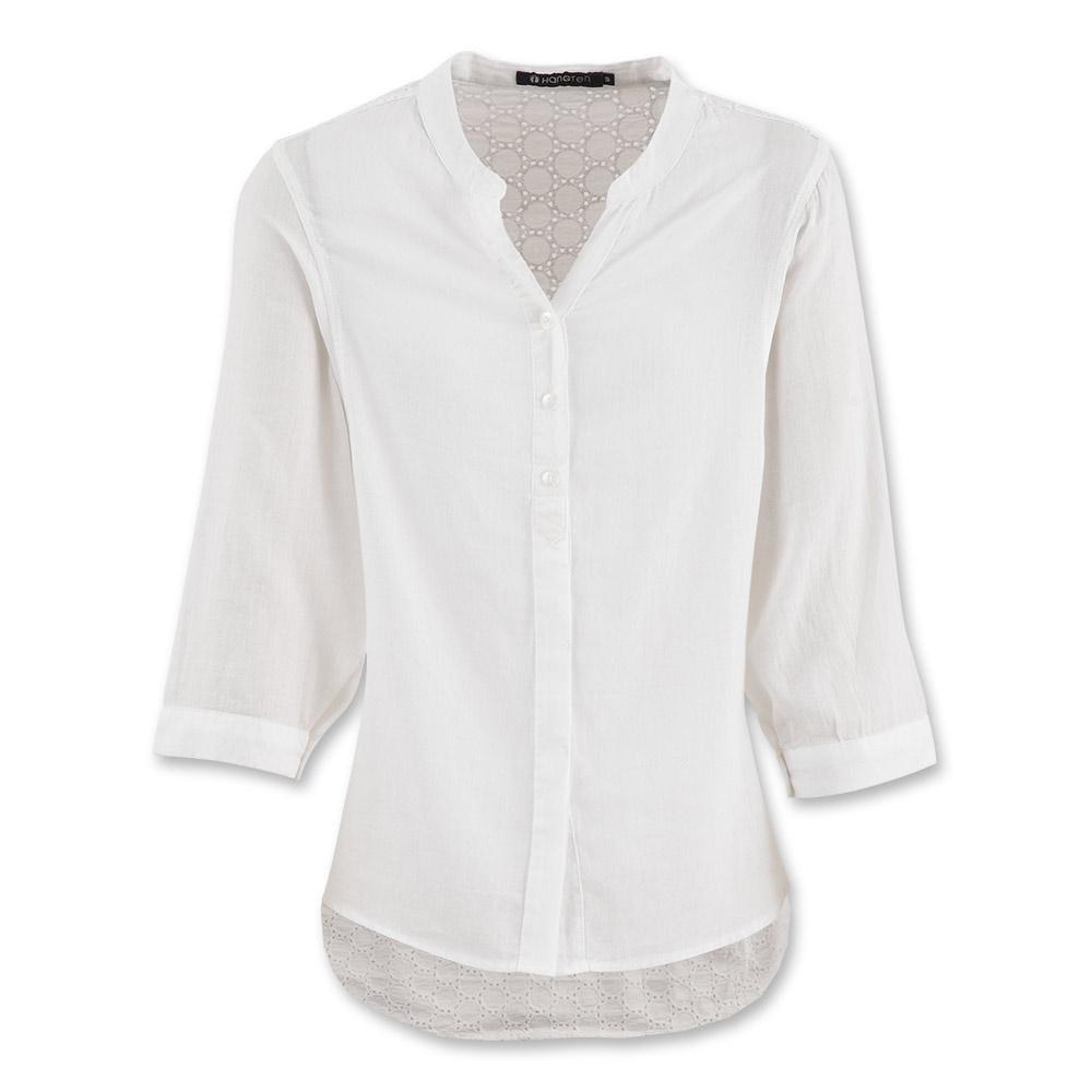 Hang Ten - 女裝 - 設計感小立領蕾絲襯衫 - 白