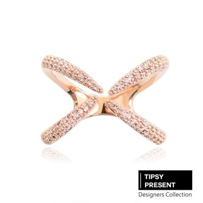 微醺禮物 韓製 鋯石 鍍16K金 四爪X型 戒指