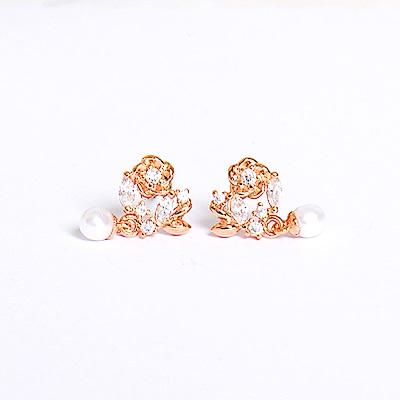 微醺禮物 正韓 925銀針 鍍K金 童話裡的花園 小花 人造珍珠 鋯石 耳針 耳環