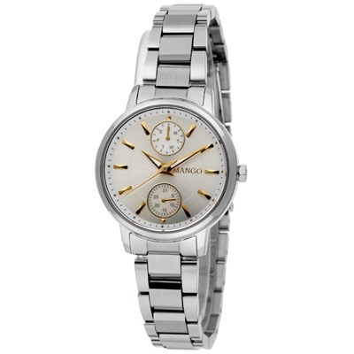 MANGO 獨特經典不鏽鋼時尚腕錶-銀/30mm