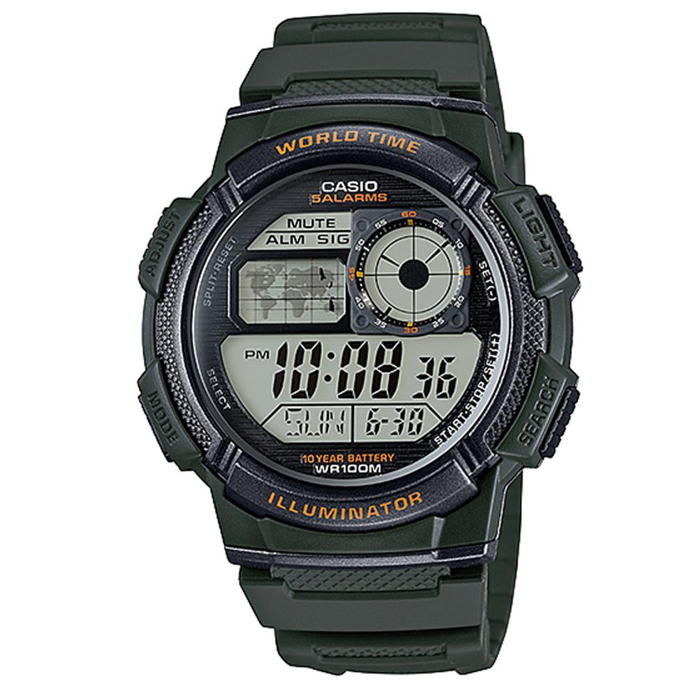 CASIO 世界之城電子數位膠帶錶(AE-1000W-3A)-墨綠/43.7mm