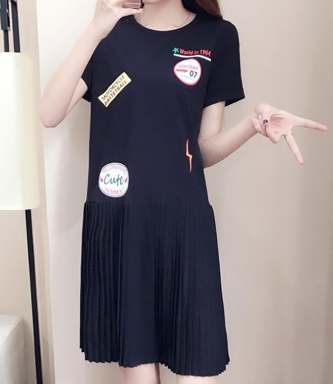 中大尺碼圓形閃電標誌印花下擺拼接雪紡百摺裙擺洋裝XL~4L-Ballet Dolly