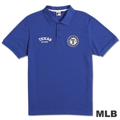 MLB-德州遊騎兵隊貼布繡隊徽POLO衫-藍(男)