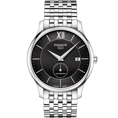 TISSOT 天梭 Tradition  古典小秒針機械錶-黑/40mm